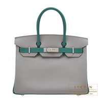 Hermes Personal Birkin bag 30 Gris mouette/ Malachite Epsom leather Silver hardware