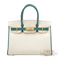 Hermes Personal Birkin bag 30 Craie/Malachite Epsom leather Gold hardware