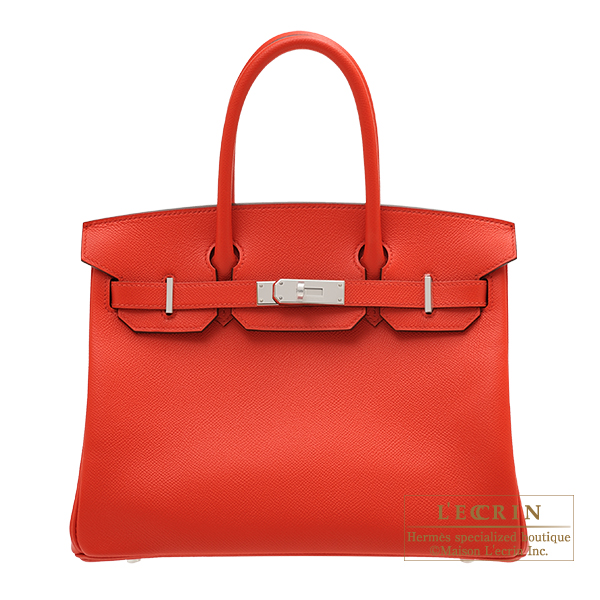 Hermes Birkin bag 30 Rouge coeur Epsom leather Silver hardware