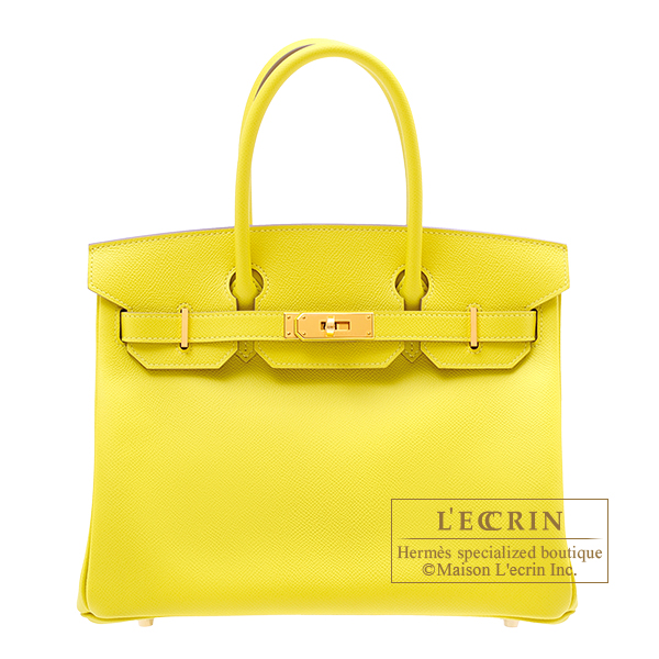 Hermes Birkin bag 30 Lime Epsom leather Gold hardware
