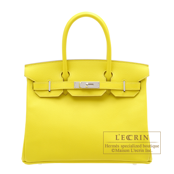 Hermes Birkin bag 30 Lime Epsom leather Silver hardware