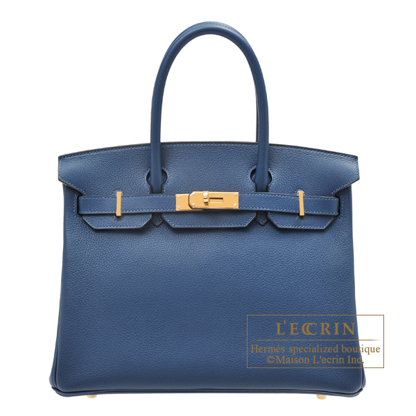 Hermes Birkin bag 30 Deep blue Novillo leather Gold hardware