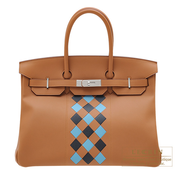 Hermes Birkin Tressage De Cuir bag 35 Gold/ Blue du nord/ Blue indigo Swift leather/ Epsom leather Silver hardware