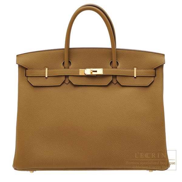 Hermes Birkin bag 40 Bronze dore Togo leather Gold hardware