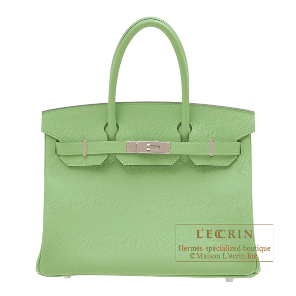 Hermes Birkin bag 30 Vert criquet Epsom leather Silver hardware