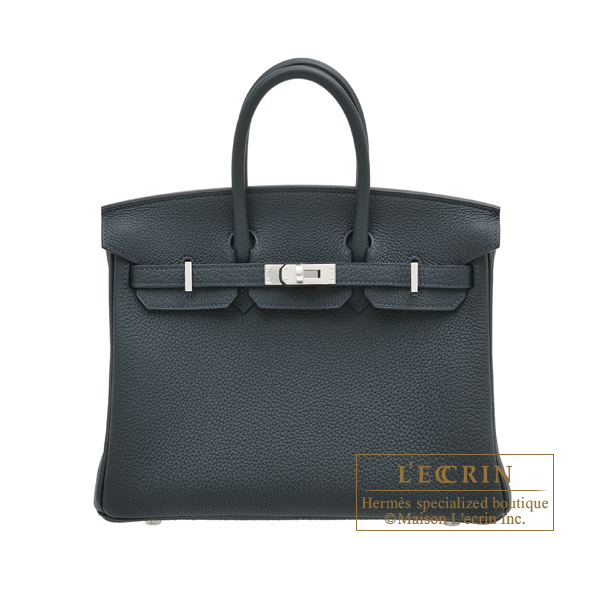 Hermes Birkin bag 25 Vert rousseau Togo leather Silver hardware