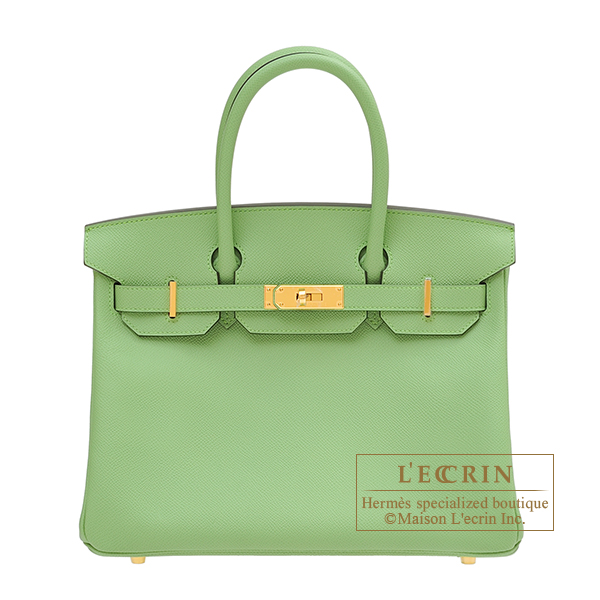 Hermes Birkin bag 30 Vert criquet Epsom leather Gold hardware