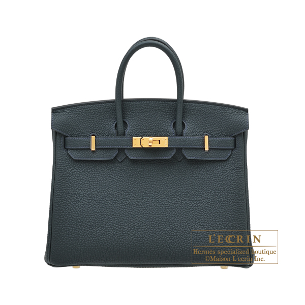 Hermes Birkin bag 25 Vert rousseau Togo leather Gold hardware