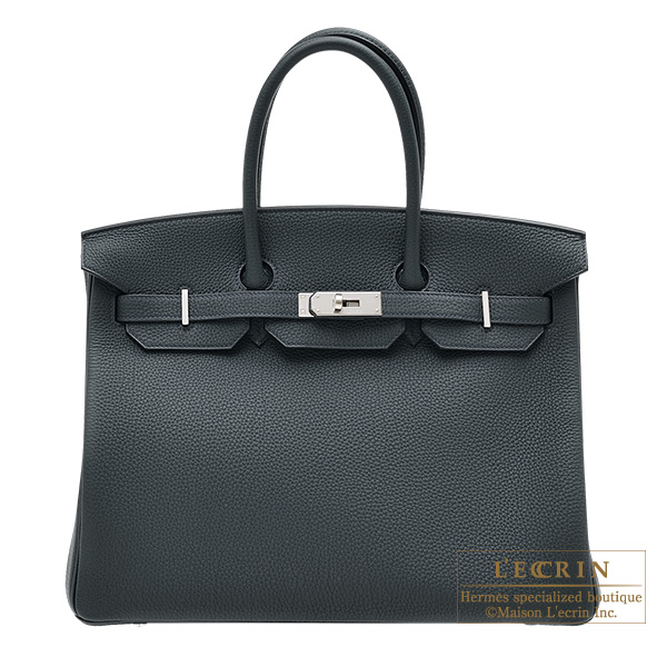Hermes Birkin bag 35 Vert rousseau Togo leather Silver hardware