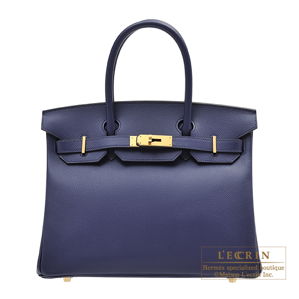 Hermes Birkin bag 30 Blue encre Epsom leather Gold hardware