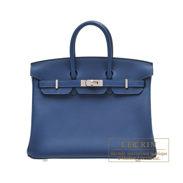 Hermes Birkin bag 25 Deep blue Novillo leather Silver hardware