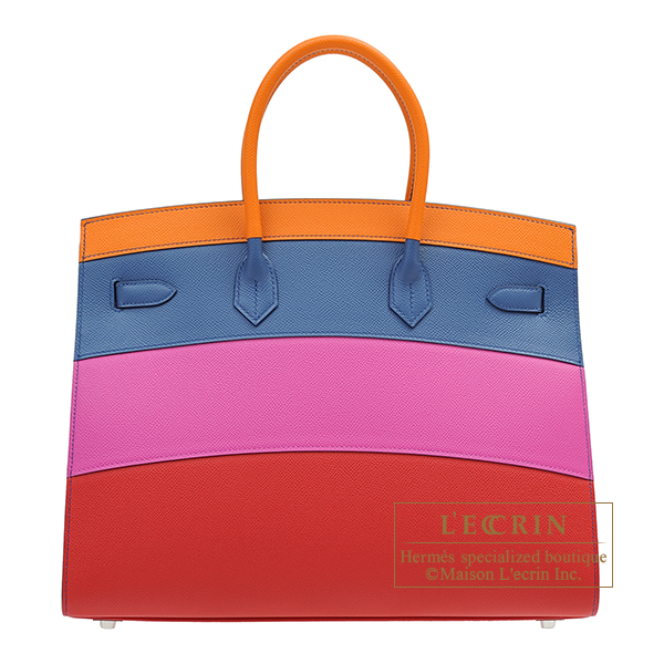 Hermes Birkin Rainbow bag 35 Apricot/Blue agate/Magnolia/Rouge casaque Epsom leather Silver hardware
