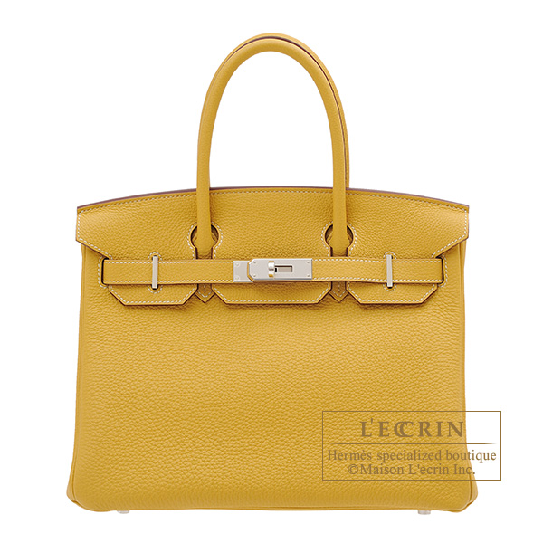 Hermes Birkin bag 30 Curry Togo leather Silver hardware