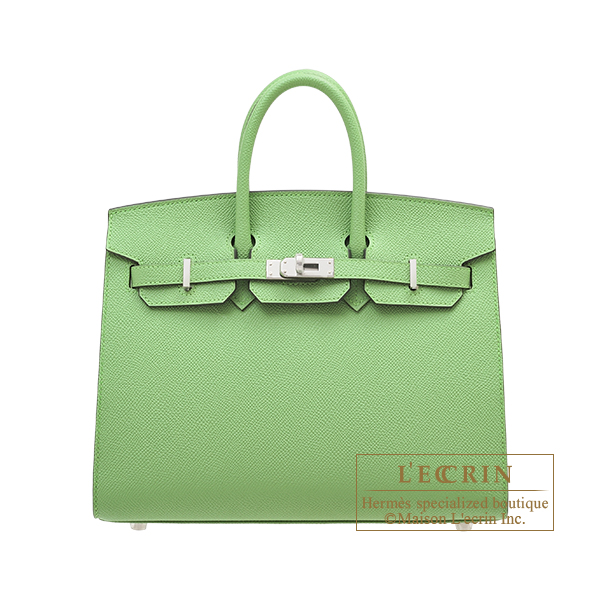 Hermes Birkin Sellier bag 25 Vert criquet Epsom leather Silver hardware