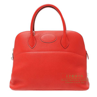 Hermes Bolide bag 35 Rouge casaque Clemence leather Silver hardware