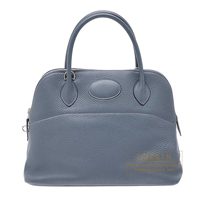 Hermes Bolide bag 31 Blue orage Clemence leather Silver hardware