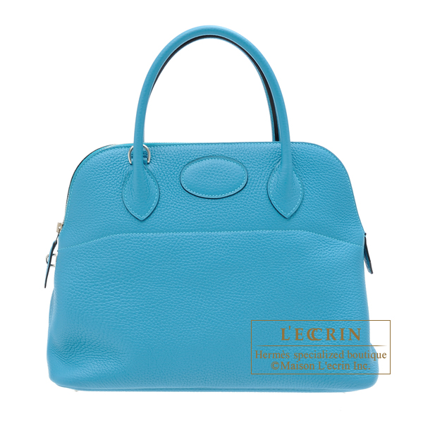 Hermes Bolide bag 31 Turquoise blue Clemence leather Silver hardware