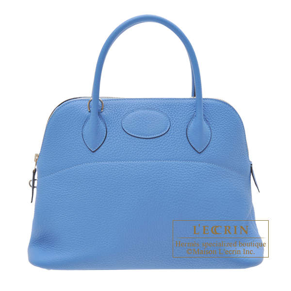 Hermes Bolide bag 31 Blue paradise Clemence leather Silver hardware