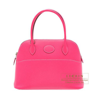 Hermes Bolide bag 27 Rose tyrien Epsom leather Silver hardware