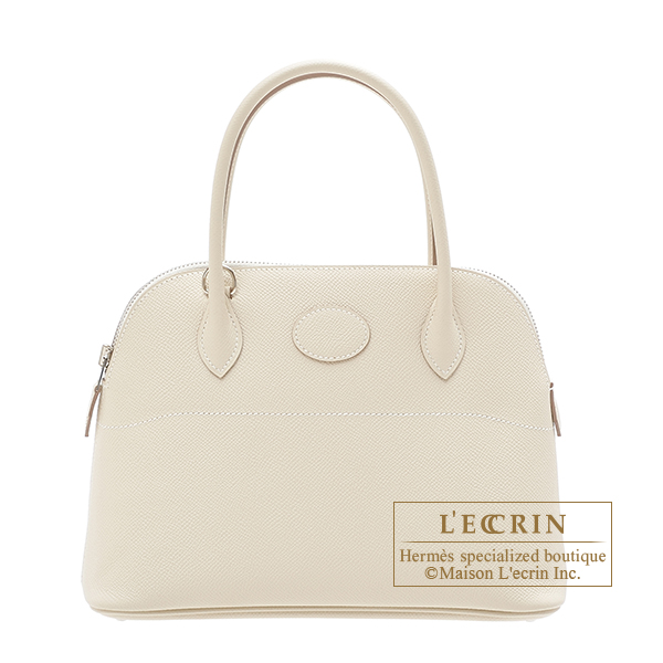Hermes Bolide bag 27 Craie Epsom leather Silver hardware