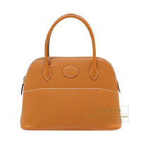 Hermes Bolide bag 27 Toffee Epsom leather Silver hardware