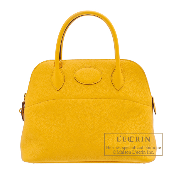 Hermes Bolide bag 31 Jaune ambre Clemence leather Gold hardware