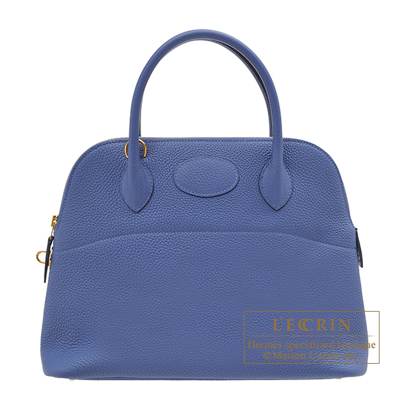 Hermes Bolide bag 31 Blue brighton Clemence leather Gold hardware