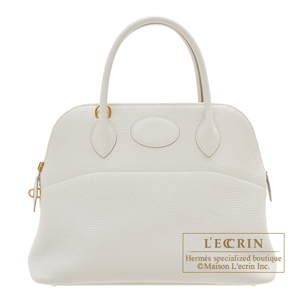 Hermes Bolide bag 31 Pearl grey Clemence leather Gold hardware