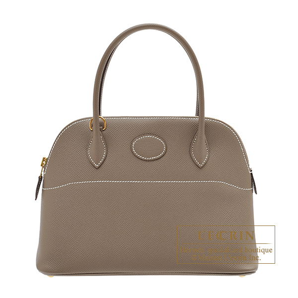 Hermes Bolide bag 27 Etoupe grey Epsom leather Gold hardware