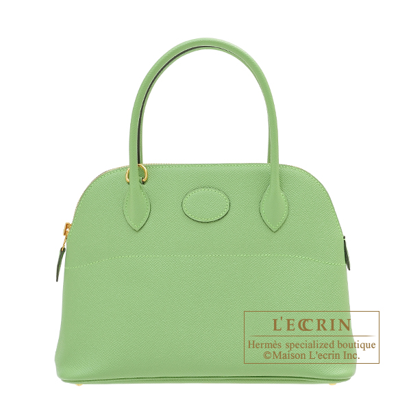 Hermes Bolide bag 27 Vert criquet Epsom leather Gold hardware