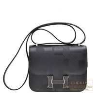 Hermes Constance mini Imprime on a summer day Black Sombrero leather Silver hardware