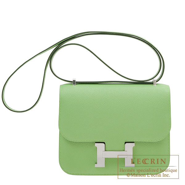 Hermes Constance mini Vert criquet Epsom leather Silver hardware
