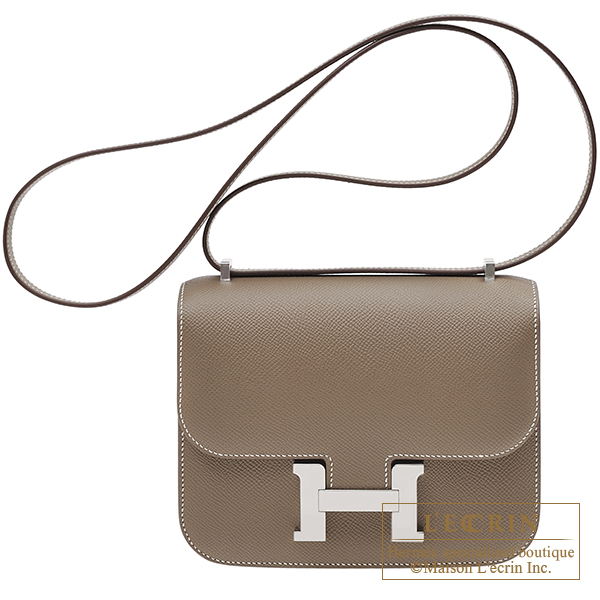 Hermes Constance mini Etoupe grey Epsom leather Silver hardware