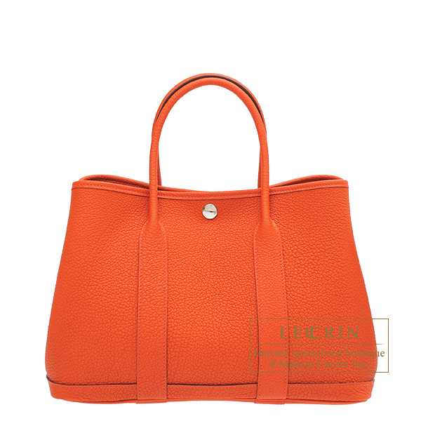Hermes Garden Party bag TPM Capucine Negonda leather Silver hardware
