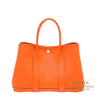 Hermes Garden Party bag TPM Feu Country leather Silver hardware