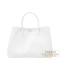 Hermes Garden Party bag TPM White Country leather Silver hardware