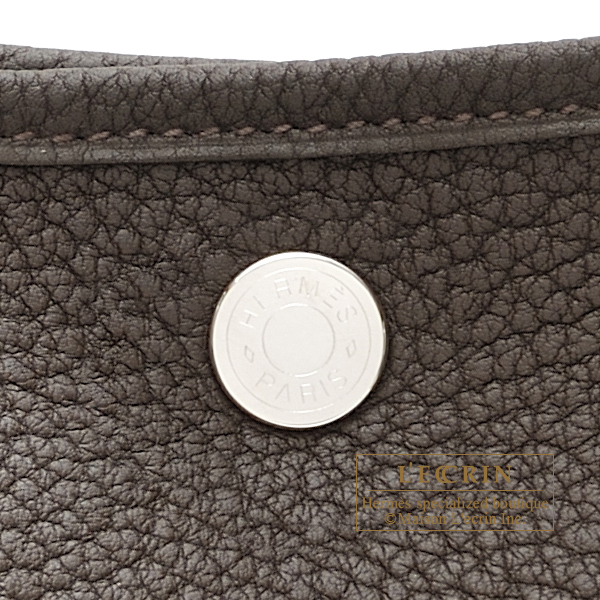 Hermes Garden Party bag PM Ebene Negonda leather Silver hardware