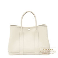 Hermes Garden Party bag TPM Craie Negonda leather Silver hardware