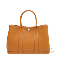 Hermes Garden Party bag TPM Toffee Negonda leather Silver hardware