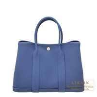 Hermes Garden Party bag TPM Blue brighton Negonda leather Silver hardware