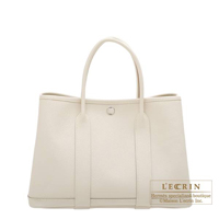 Hermes Garden Party bag TPM Craie Epsom leather Silver hardware