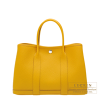 Hermes Garden Party bag TPM Jaune ambre Country leather Silver hardware