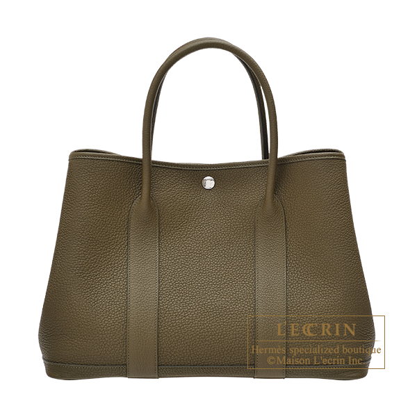 Hermes Garden Party bag PM Vert veronese Negonda leather Silver hardware