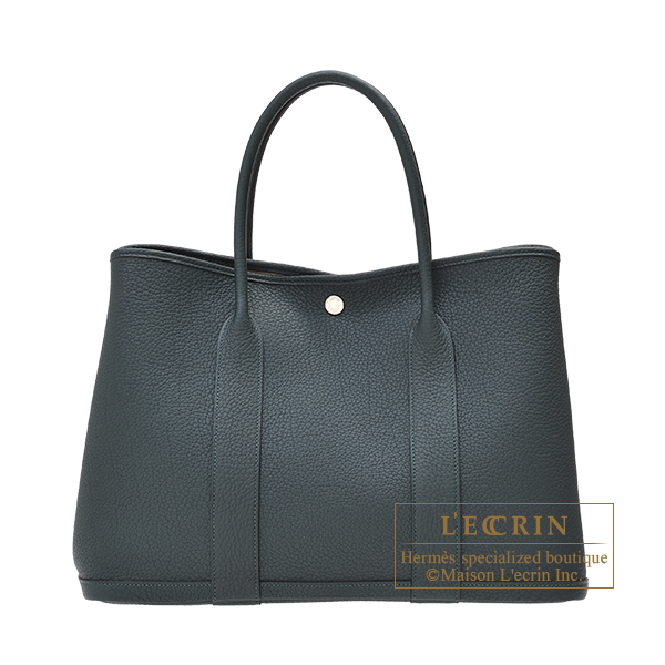 Hermes Garden Party bag PM Vert cypres Negonda leather Silver hardware