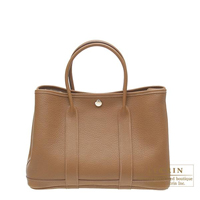 Hermes Garden Party bag TPM Alezan Negonda leather Silver hardware