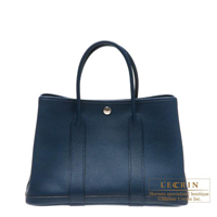 Hermes Garden Party bag TPM Blue de malte Buffalo sindhu leather Silver hardware