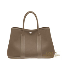 Hermes Garden Party bag TPM Etoupe grey Cotton canvas Silver hardware