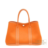 Hermes Garden Party bag TPM Orange Cotton canvas Silver hardware