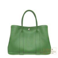 Hermes Garden Party bag TPM Vert benghal Buffalo sindhu leather Silver hardware