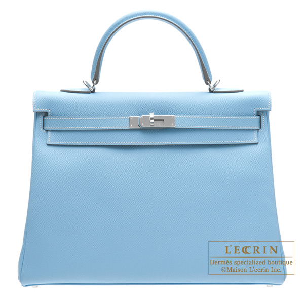 Hermes Candy Kelly bag 35 Retourne Celeste Epsom leather Silver hardware